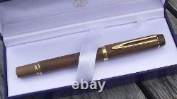WATERMAN Ideal Le Man 100 Olive Wood -Fountain Pen-18K GOLD NIB-NEW (NOS) BOX