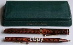 Waterman 7 Red Ripple Fountain Pen with Pink Nib Matching Pencil and Box