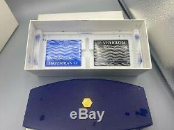 Waterman Edson Fountain Pen SAPPHIRE BLUE 18K Med Nib Near Mint Complete Boxes