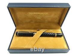 Waterman Le Man 100 Opera 18k Gold Nib Chased Black Fountain Pen withOriginal Box