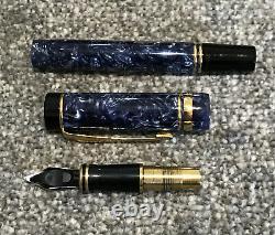 1996 Parker Duofold International Fountain Pen-18ct Medium Nib-blue Marble-box