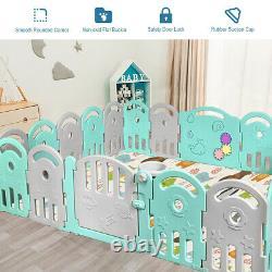 20-panel Baby Playpen Kids Baby Fun Playard Avecmusic Box & Basketball Hoop