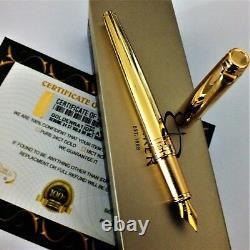 24ct Gold Plaqué Métal Brillant Parker Fontaine D'écriture Stylo Cadeau En Boîte 24k
