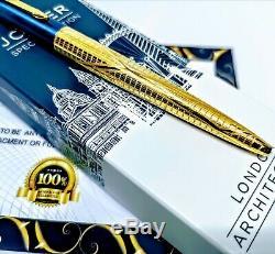 24ct Plaqué Or Bleu Parker Architecture Jotter Stylo Écriture Stylo Boîte-cadeau