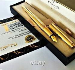 24ct Plaqué Or Brillant Métal Parker Aster Fontaine Écriture Stylo Cadeau 24k Boxed