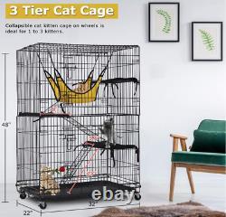 3 Tier Cat Cage Grande Playpen Chinchilla Rat Box Enclosure Pour Animaux Avec Des Échelles