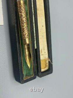 Antique Mabie Todd # 2 Dip Fountain Pen Sculpté Nacre # 2 De Pointe Souple Coffret