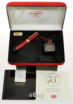 Aurora 75 Optima Red Celluloïd Stylo Limited Edition Nouveau Dans La Boîte
