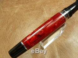 Aurora Optima Fountain Pen Rouge Auroloide Avec Chrome Garniture Medium Point Newithbox