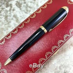 Authentique Cartier Roadster Pen Noir Argent Bleu Gem Withbox Et Papiers (nouveau)
