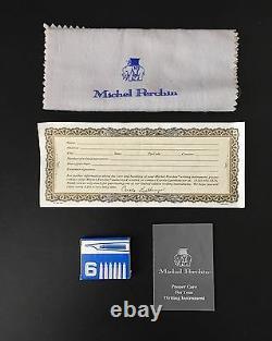 Bleu Et Or Côtelé Michel Perchin Limited Edition Fountain Pen Nouveau Dans La Boîte