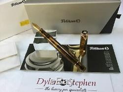 Boîtes + Papiers Démonstrateur Cognac Pelikan Souveran M200 Fontaine Stylo Fine + Nib