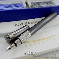 Boxed Gris Titane Waterman Serenite St Échantillon Fountain Pen 18k Fine Nib