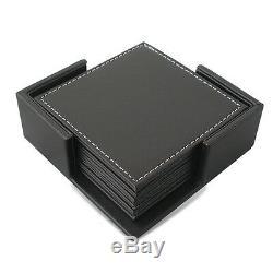 Bureau Organisateur Bureau Set T04-9pcs / Set Pen Fichiers En Cuir Noir Porte-crayon Boîte