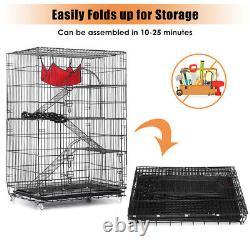 Cage De Chat 4-tier Cat Playpen Kennel Crate Chinchilla Rat Box Cage Enclosure Avec