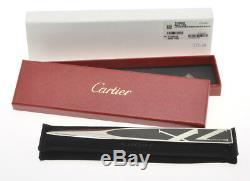 Cartier Acier Contemporain Et Émail Noir Ouvre-lettre Nouvelle Vierge Dans La Boîte