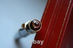 Cartier Diabolo Ruby Red Stone Burgundy Marble Rose Gold Fountain Pen Mint, Boîte