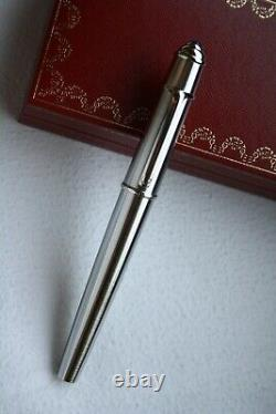 Cartier Diabolo Solid Brushed Steel Platinum Blue Stone Rollerball Pen Mint, Boîte