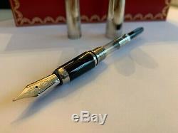 Cartier Louis Cartier Fountain Pen Godron Platinum Brand New. Jamais Utilisé. Dans L'encadré