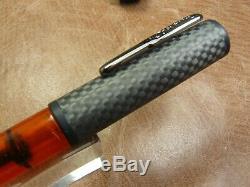 Conklin Fibre De Carbone Mot Calibre Plume En Acier Orange Fin Nib Newithbox
