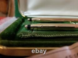 Cross 14k Solid Gold Vintage Ball Point Pen And Pencil Set With Original Box Euc