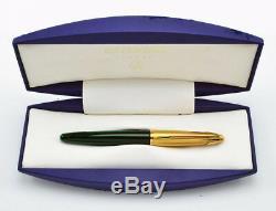 Edson Waterman Emerald Green & Gold Fountain Pen Or 18 Carats Moyenne Pt Neuf Dans La Boîte