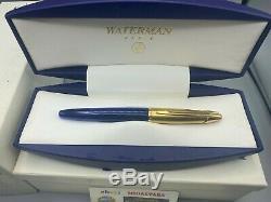 Edson Waterman Fountain Pen Saphir Bleu 18k Med Nib Presque Neuf Boîtes Complètes