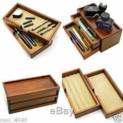 F / S Fountain Pen Case Cargo Stockage Plumier Magazine Artisanat En Bois Made In Jp