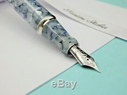 Glace Stylo Plume Toscana Or Gris Bleu Clair 18k F M Stub F Flexy Nouveau En Boîte