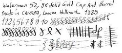 Gorgeous Waterman 52, 9k Solid Gold, In Box, Semi Flex, 14k M Nib, Canada, 1939