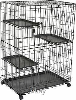 Grand 3-tier Cat Cage Playpen Box Crate Kennel 36 X 22 X 51 Pouces, Noir