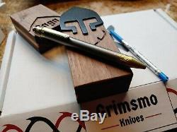 Grimsmo Couteaux Saga Pen # 223 Tout Neuf Dans La Boîte D'or Et Titane