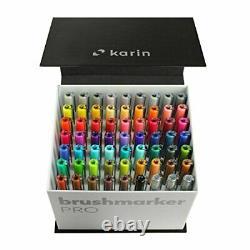 Karin Mega Box 60 Couleurs + 3 Stylos Blender Brush Marker Pro Aquarelle 27c7