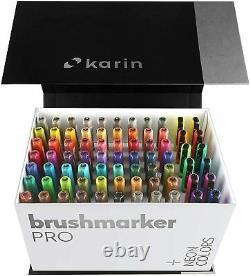 Karin Mega Box Plus 72 Couleurs + 3 Stylos Blender Brush Marker Pro Aquarelle 27c13