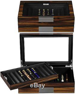 Lifomenz Co Pen Display Box Bois D'ebène Pen Display Case, Stylo Plume Stockage Pen