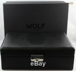 Loup Noir Lézard Téju Faux Cuir Dépliable Stylo Boîte Pour Cinq Stylos Grand Trente-