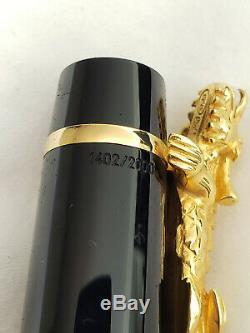 Montblanc Année De Non Encré Dragon D'or 2000 Fountain Pen M Nib Box + Papiers