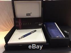 Montblanc Boheme Bijoux Topaz / Cuir Bleu Fountain Pen # 9931 Neuf Dans La Boîte