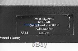 Montblanc Boheme Solitaire Stylo Bille Rouge Plaqué Or 5814 Nouvelle Boîte France