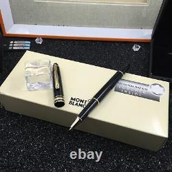 Montblanc Classique Meisterstuck Rollerball Noir Avec Garniture D'or 163 12890 Avec Box