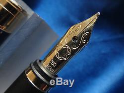 Montblanc Noblesse Bleu & Or Fountain Pen 18k Med Pt & Converter Neuf Dans La Boîte