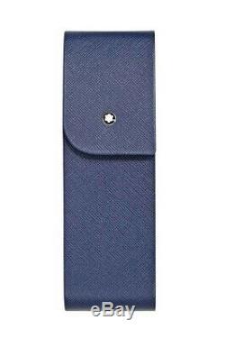 Montblanc Sartorial En Cuir Bleu Dur Shell 2 Pen Housse 115414 Nouveau, Boîte