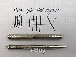 Moore Or Rempli Fountain Pen + Crayon D'or Flexible Nib Avec La Boîte