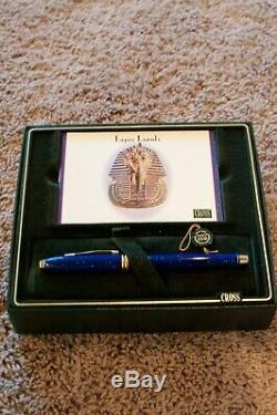 New Cross Townsend Lapis Lazuli Fontaine Pen Neuf Dans La Boîte D'or Flake Et Or Nib