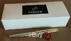 New Parker Sonnet Fp, Ciselé Tartan, Boxed, Lisse 18k Deux Tons Moyen Nib
