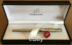 New Parker Sonnet Fp, Ciselé Tartan, Boxed, Lisse 18k Moyen Nib, C2003
