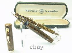 Nice Waterman 52 V Olive Ripple Stylo-plume 14ct M Nib - Crayon Correspondant & Boîte