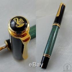Nouveau Dans La Boîte Old Logo Pelikan Souveran M400 Vert Striée Fountain Pen 14c M Nib