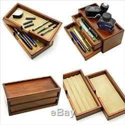 Nouveau Toyooka Bois Fountain Pen Boîte De Rangement Collection Case 8 Stylos Avec Suivi