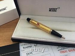 Nouvelle Boîte Montblanc Boheme Or Plaqué Rouge Ruby Ballpoint Pen Bp 5814 Solitaire